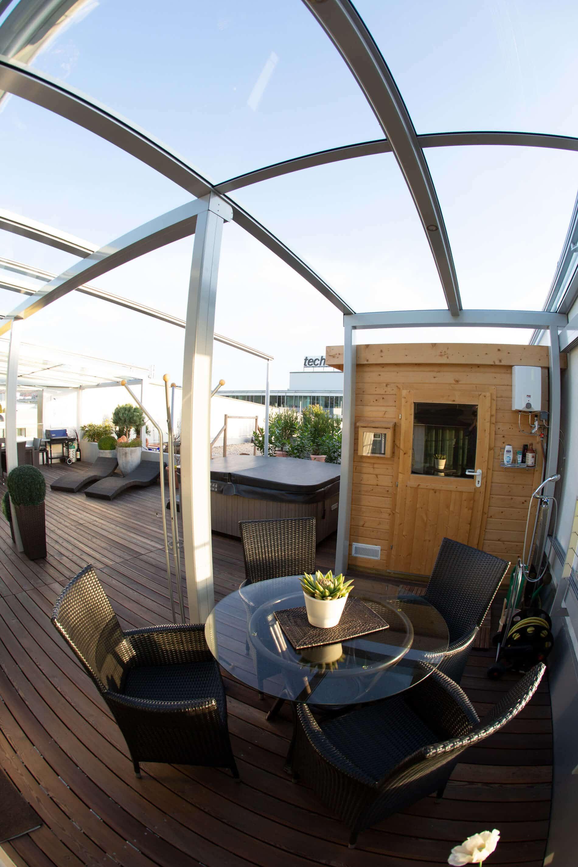 Regenschutz Glas Terrasse