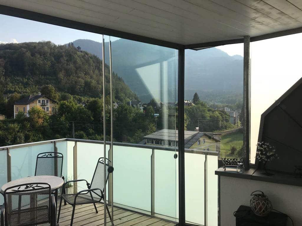 Schiebetüren Dachterrasse Windschutz