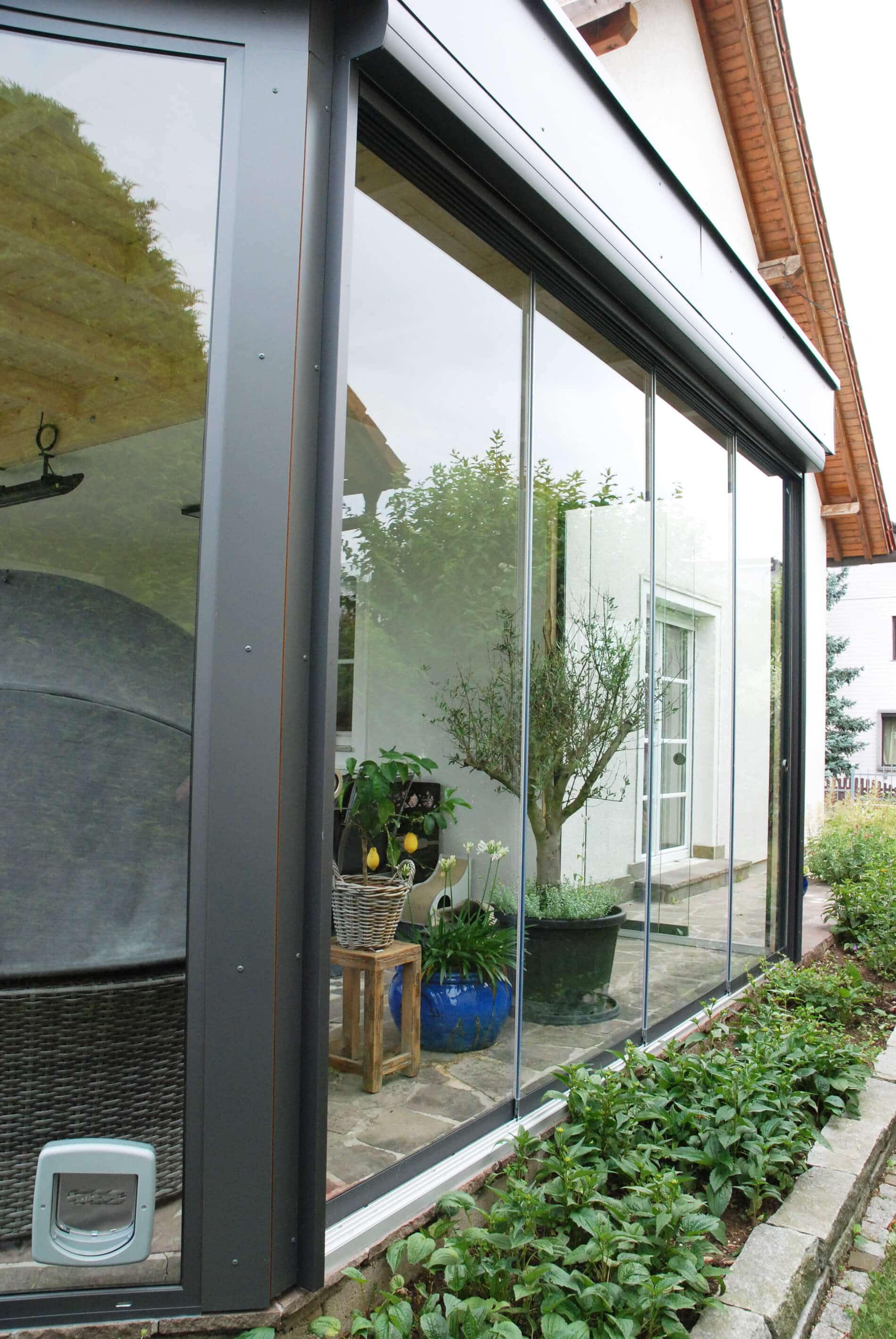 Schiebetüren Ganzglas für Wintergarten