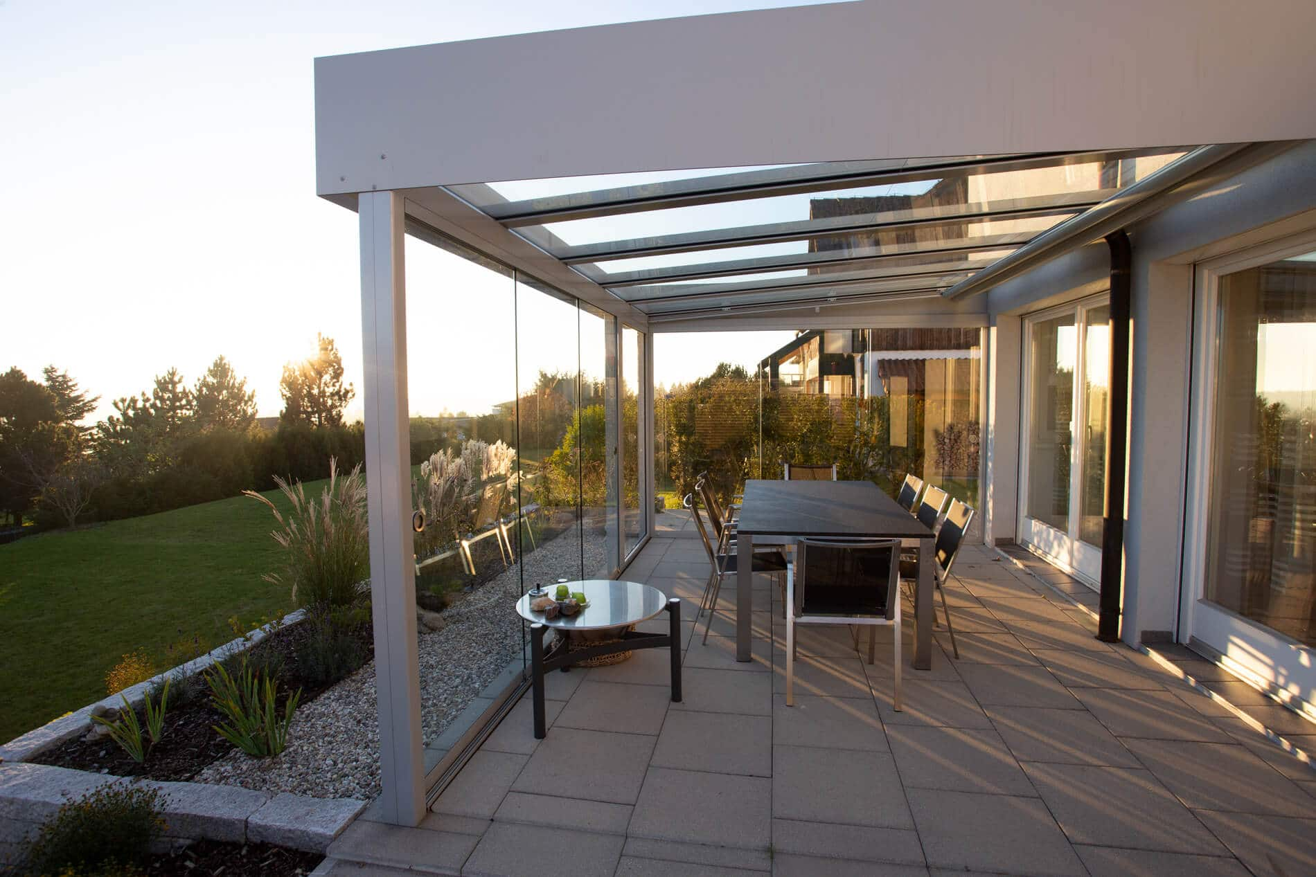 Schiebeverglasungen für Terrassenüberdachung