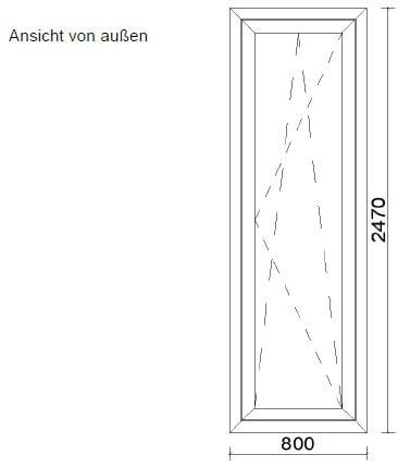 Schmale Aluminiumtüre Dreh-Kipp