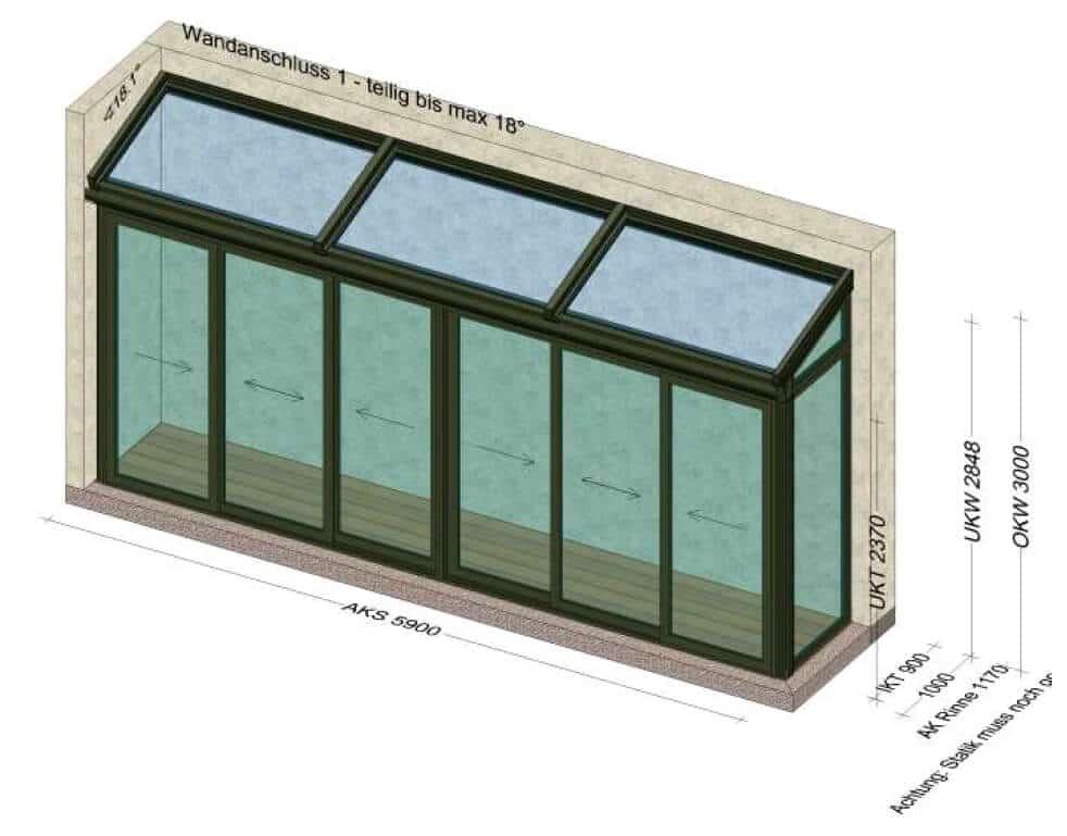 Schmaler Wintergarten 6x1 Meter - Planung