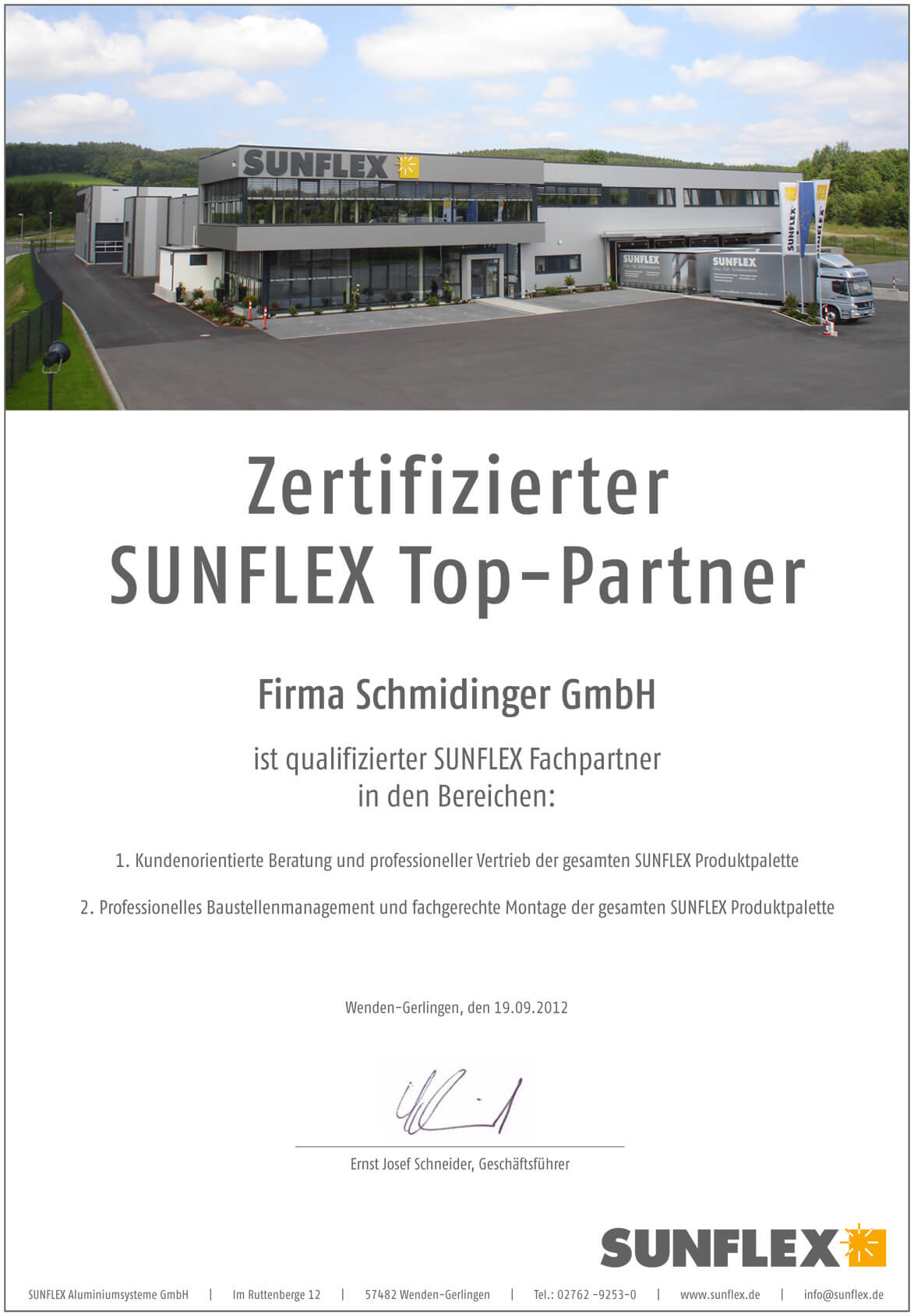 Sunflex Top-Partner Zertifikat