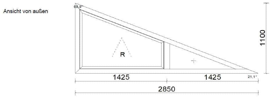 Schrägfenster Aluminium 2-teilig