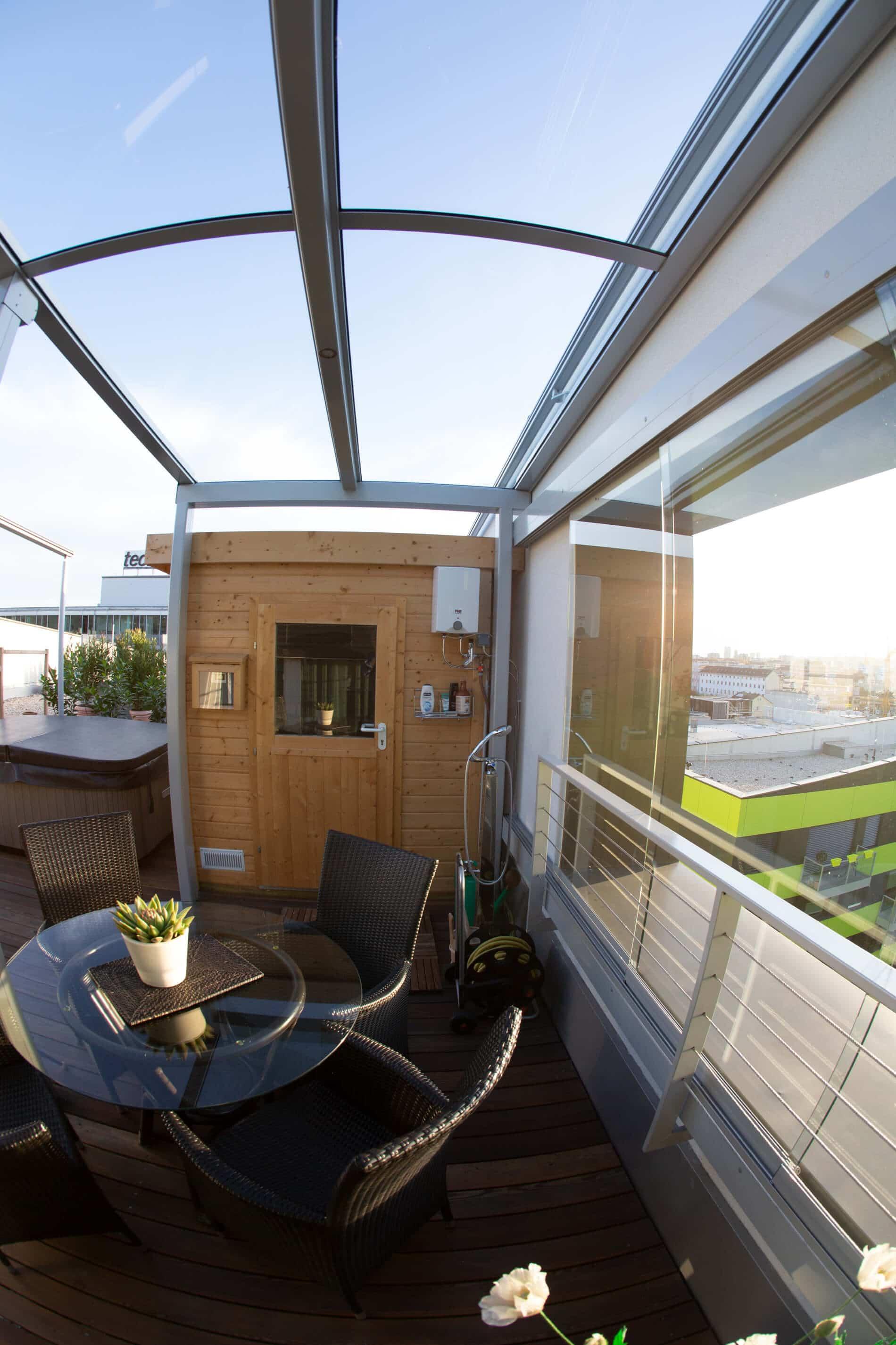 Seitlicher Wetterschutz für Terrasse