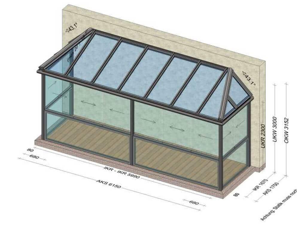 Sommergarten aus Aluminium mit Glasschiebewänden