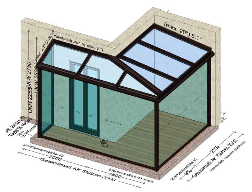 Sommergarten mit Glasschiebetüren auf zwei Hausseiten