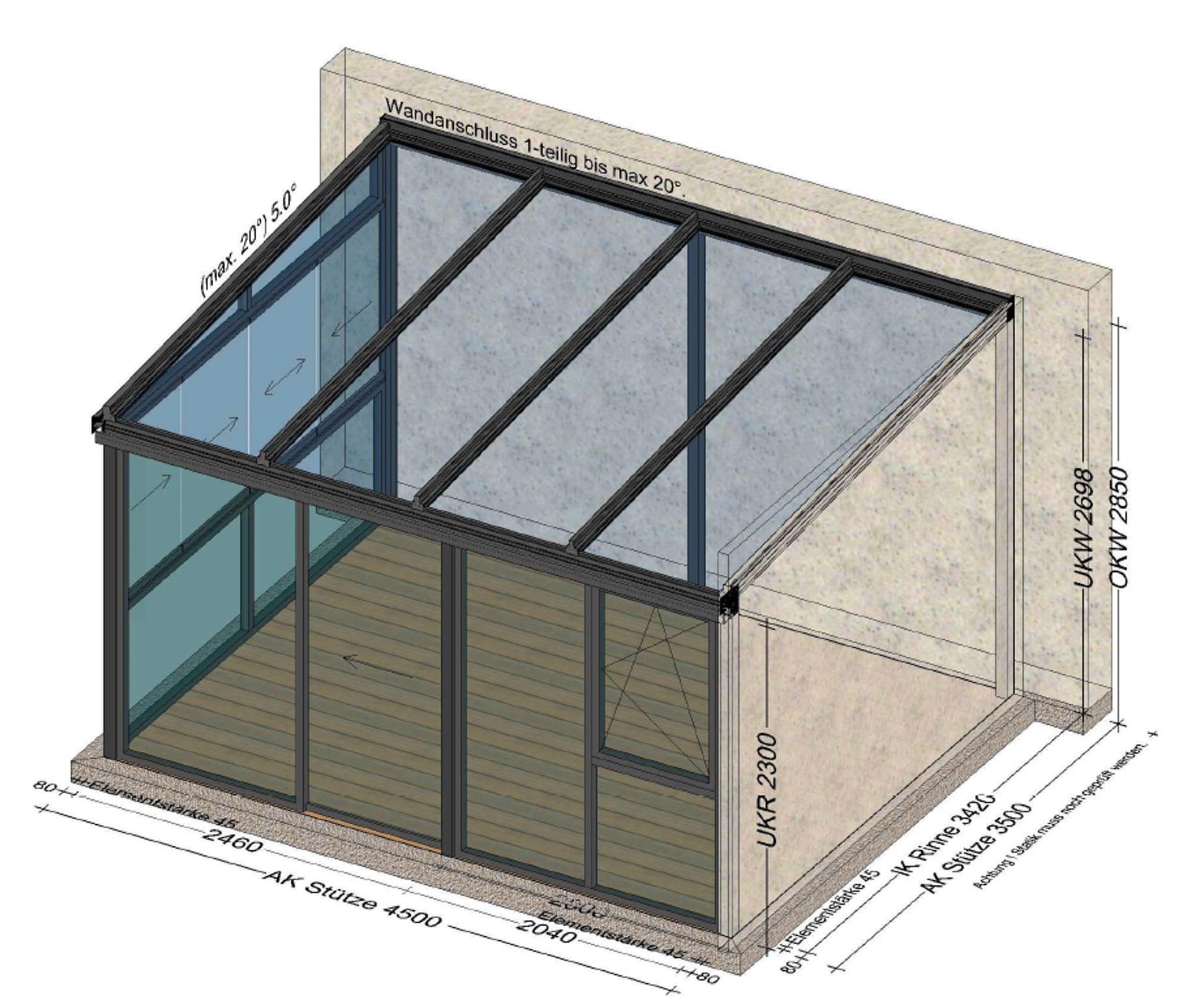 Sommergarten 2 seitig mit Glasschiebewänden und Fenster - 1 Seite Mauer