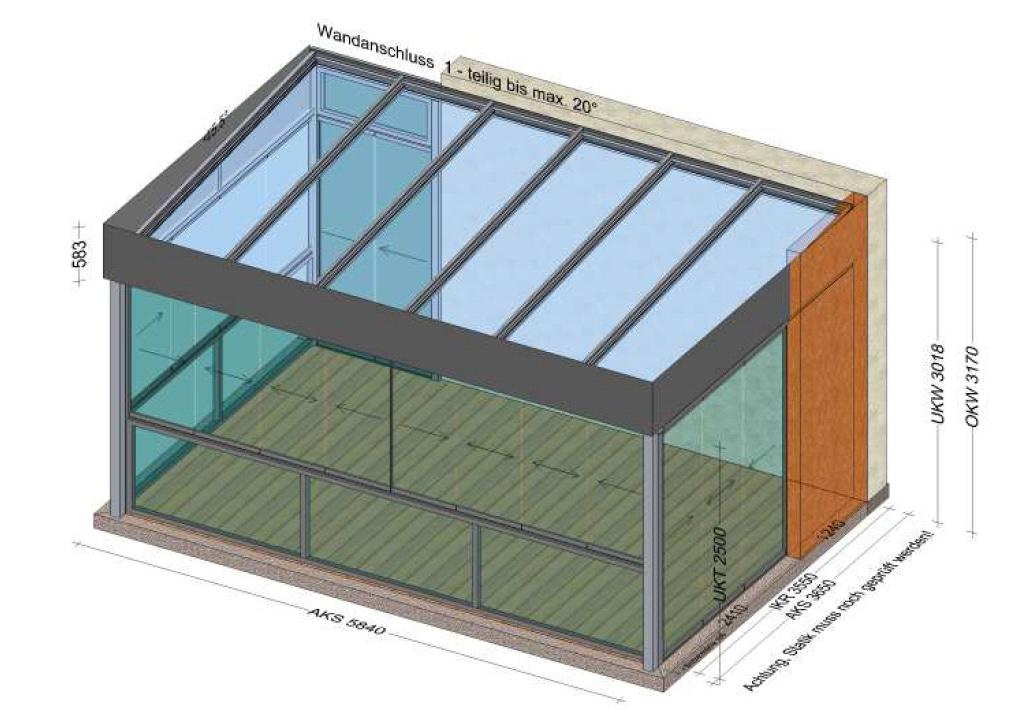 Sommergarten Flachdach mit Glasschiebesystem