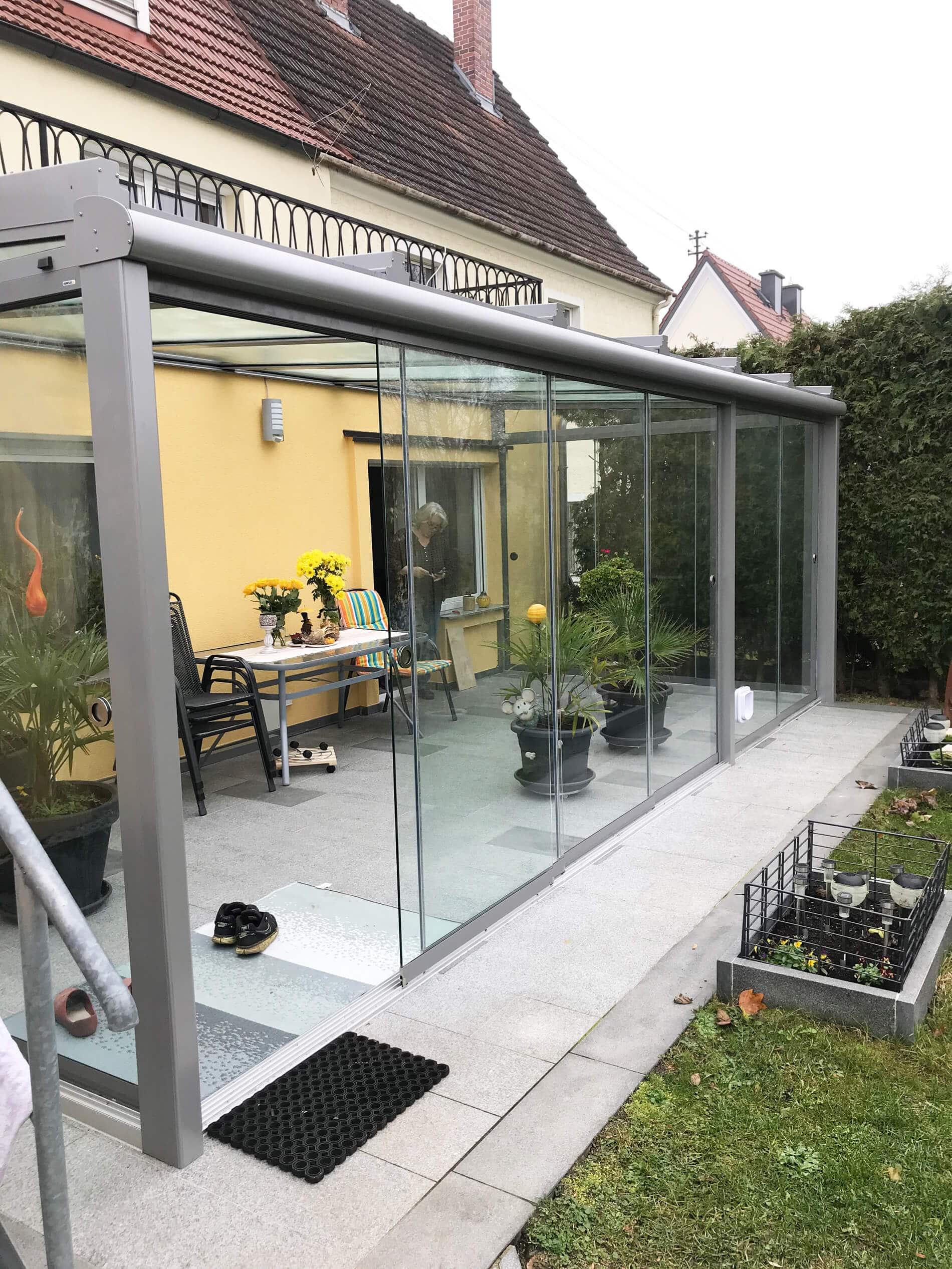 Sommergarten Glasschiebeelemente Bilder