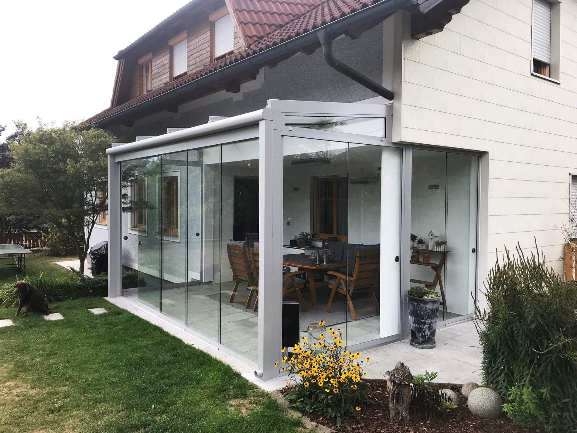 Sommergarten Glaswand zum Schieben