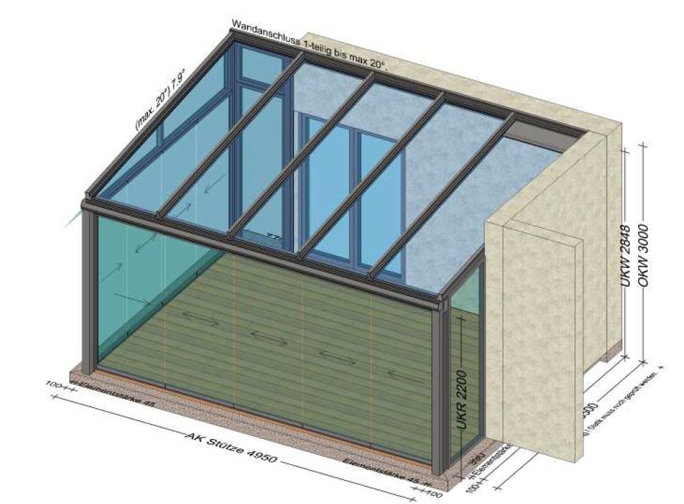 Sommergarten mit Glasschiebekonstruktionen mehrteilig