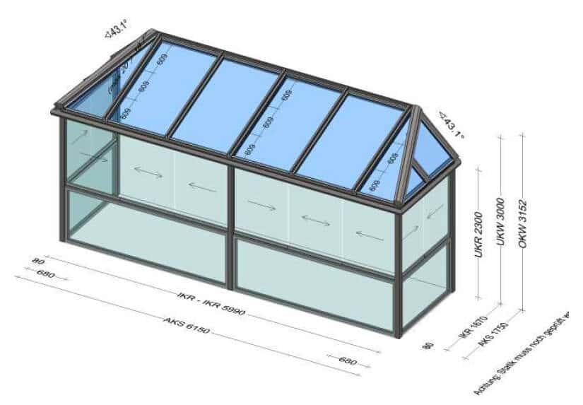 Sommergarten mit seitlich abgeschrägtem Glasdach