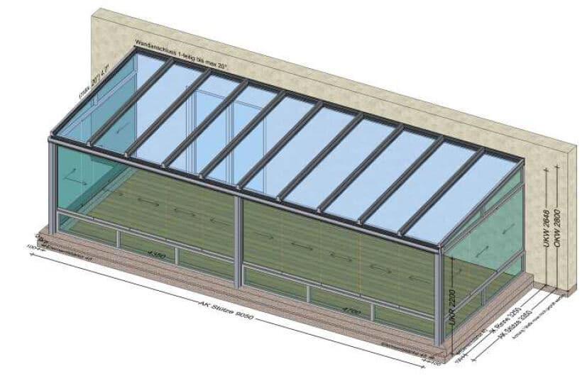 Sommergarten unten mit Fixteil - oben zum Schieben - Planung