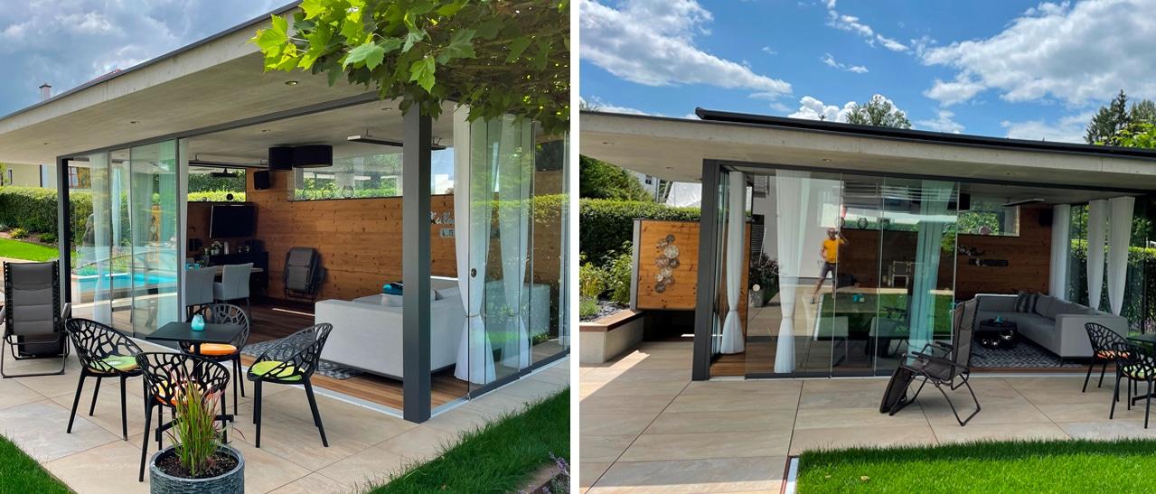 Projekt: Poolhaus mit Sunflex Ganz-Glasschiebetüren SF 20