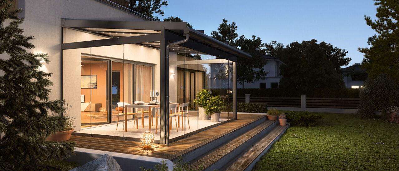Sunflex moderne Terrassenüberdachung Neuheiten 2019