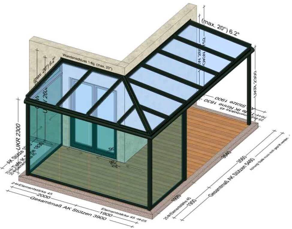 Teilverglaste Terrassenüberdachung Eckkonstruktion