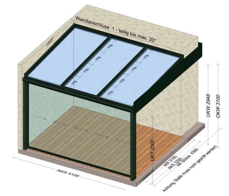 Teilverglast Terrassenüberdachung grau
