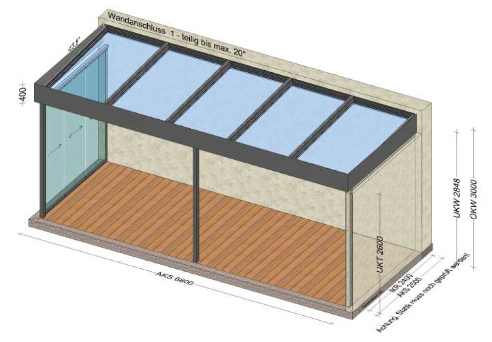 Teilverglaste Terrassenüberdachung mit Flachdach - Planung in Rohrbach