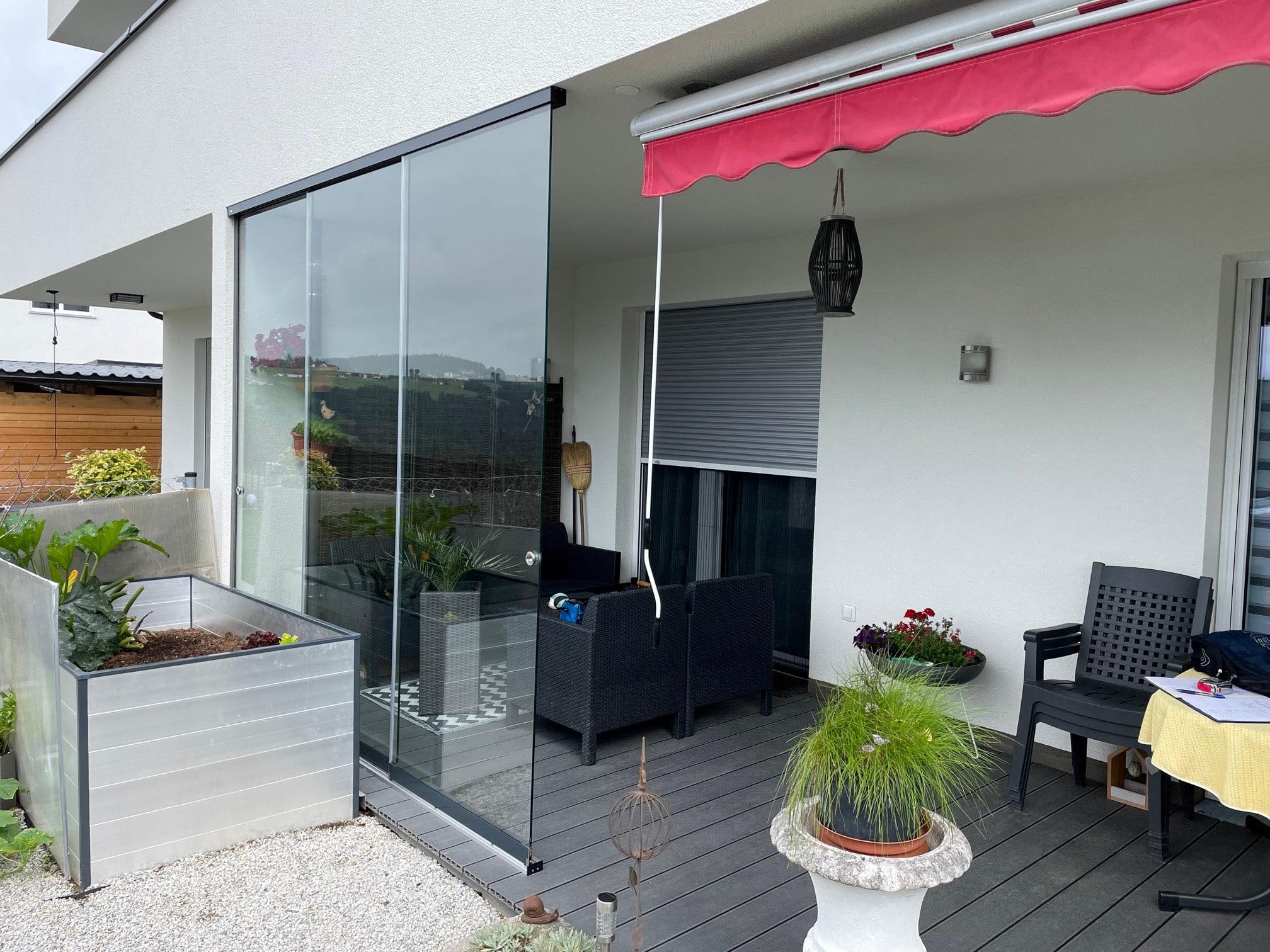 Teilverglasung Terrasse als Schiebetür