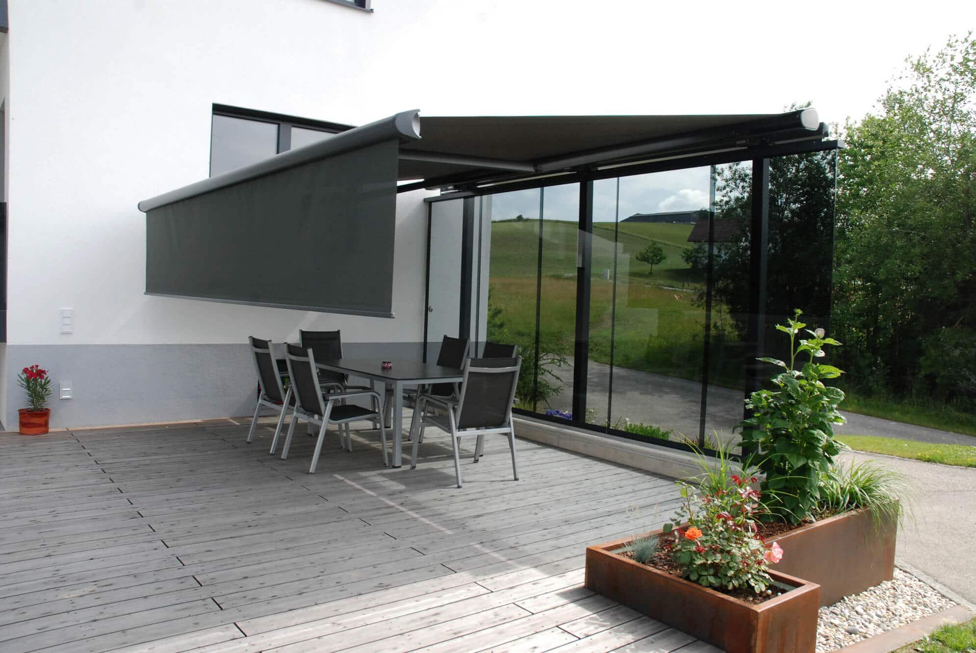 Terrassen Windschutz Markise Flexible Schiebewand Beschattung