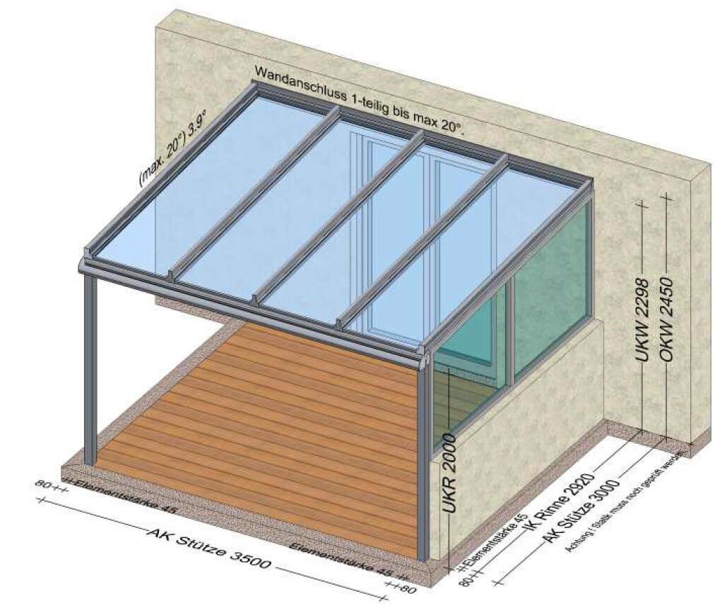 Terrassen Glasdach Planung