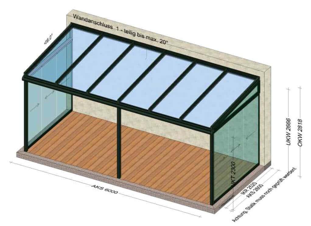 Terrassen Glasdach seitlich geschlossen