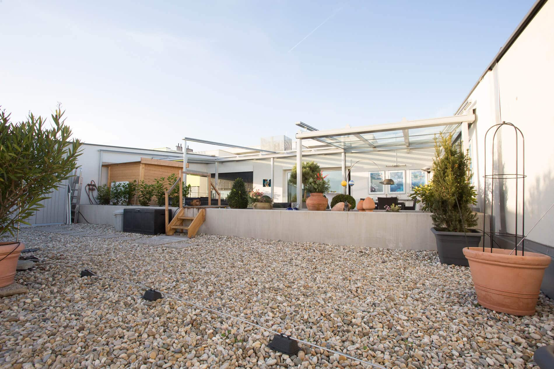 Terrassendach aus Glas für Dachterrasse