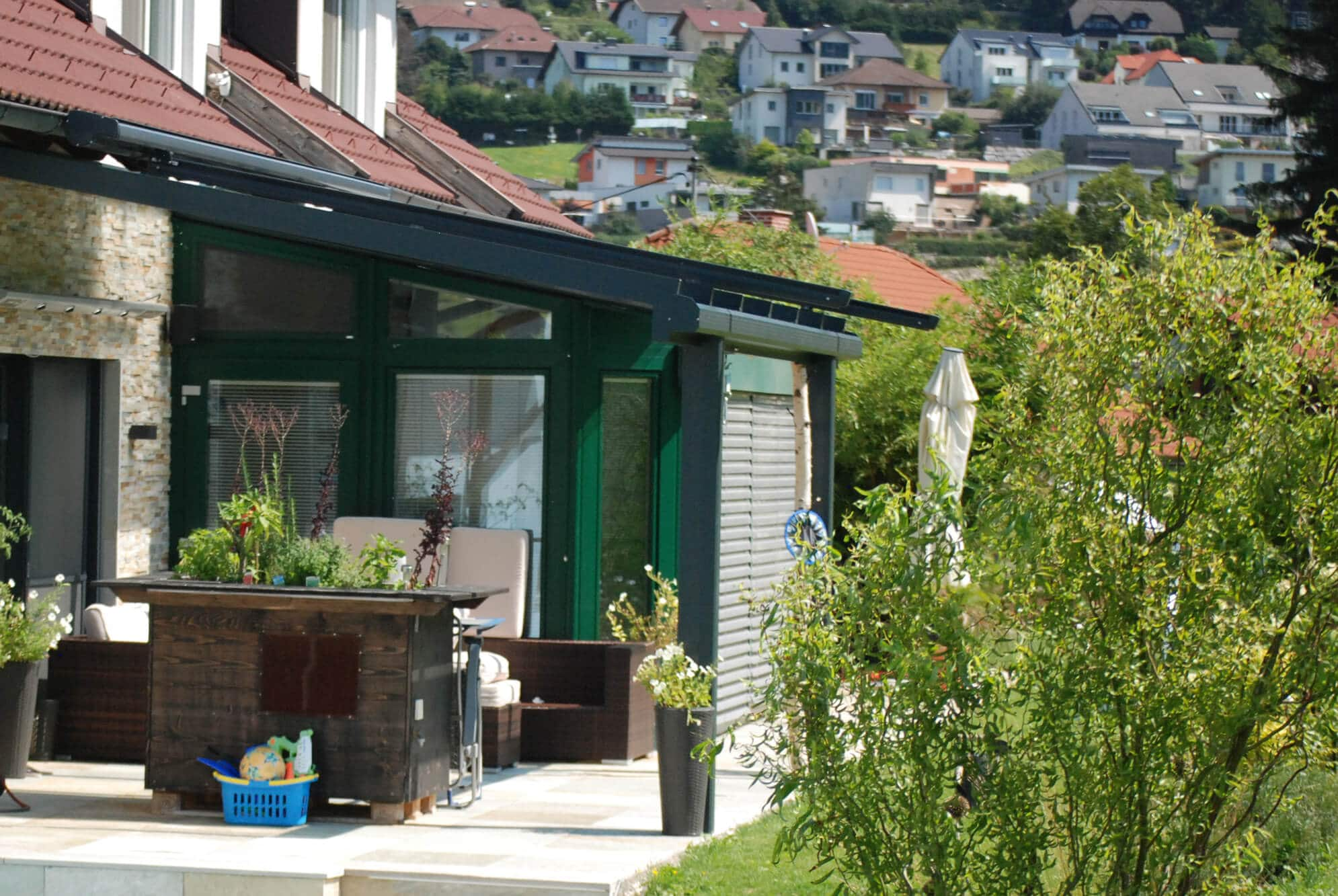 Terrassendach Glas Alu Anthrazit