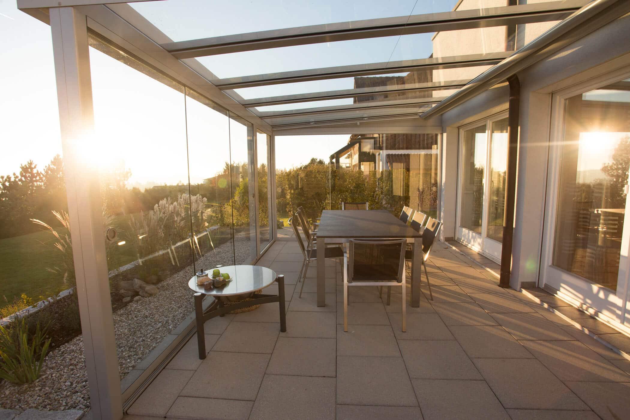 Terrassendach Glas mit Glasschiebeelemente