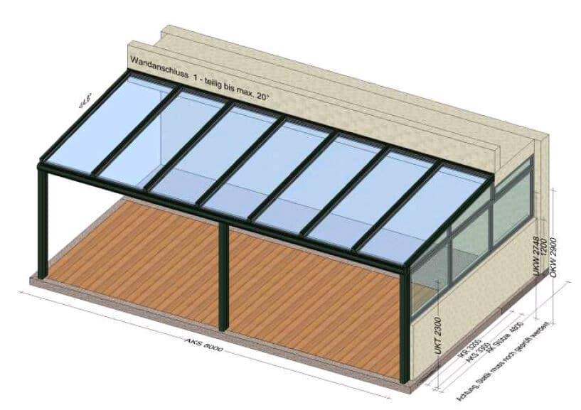 Terrassendach seitlicher Windschutz
