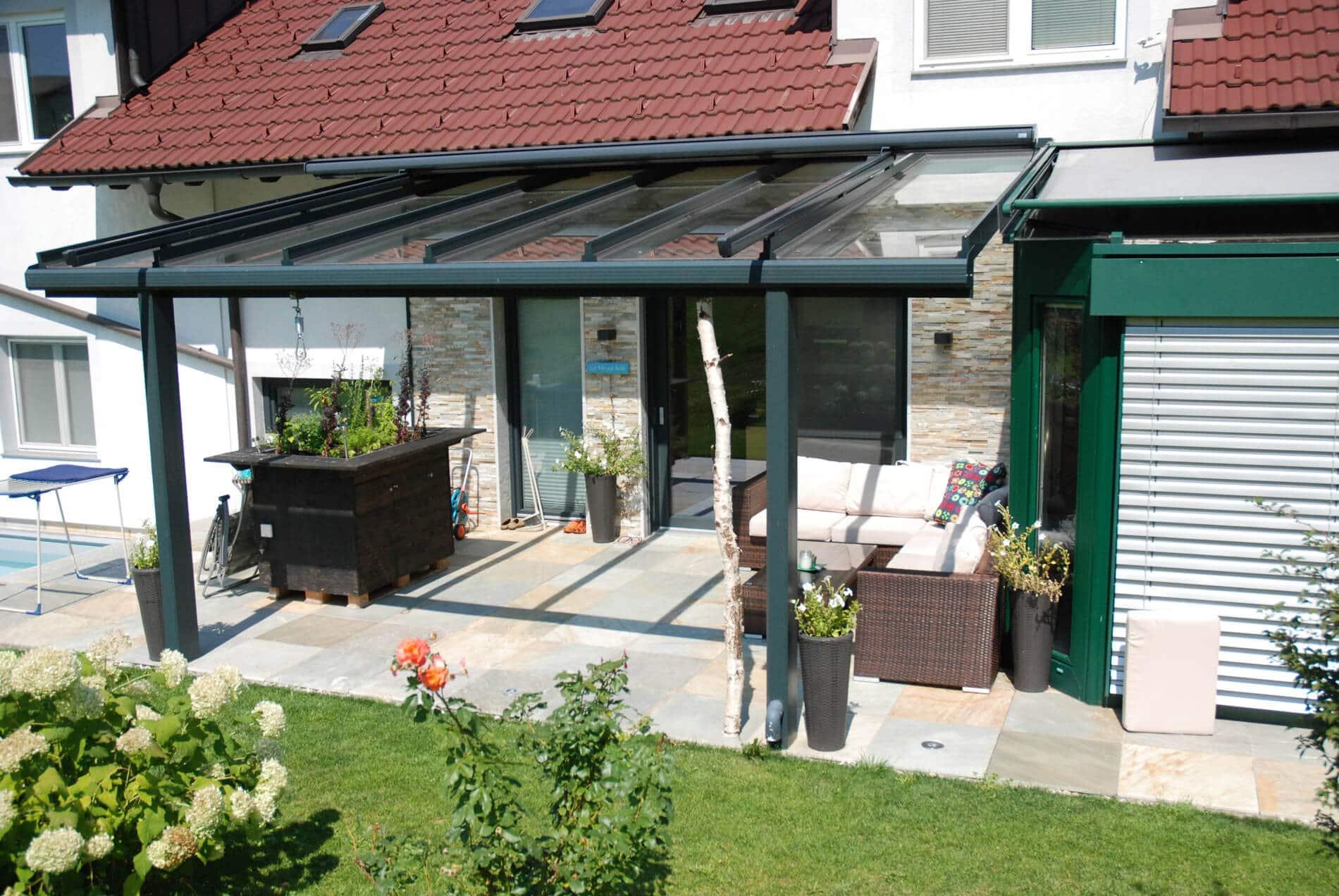 Terrassendächer Alu Glas anthrazit
