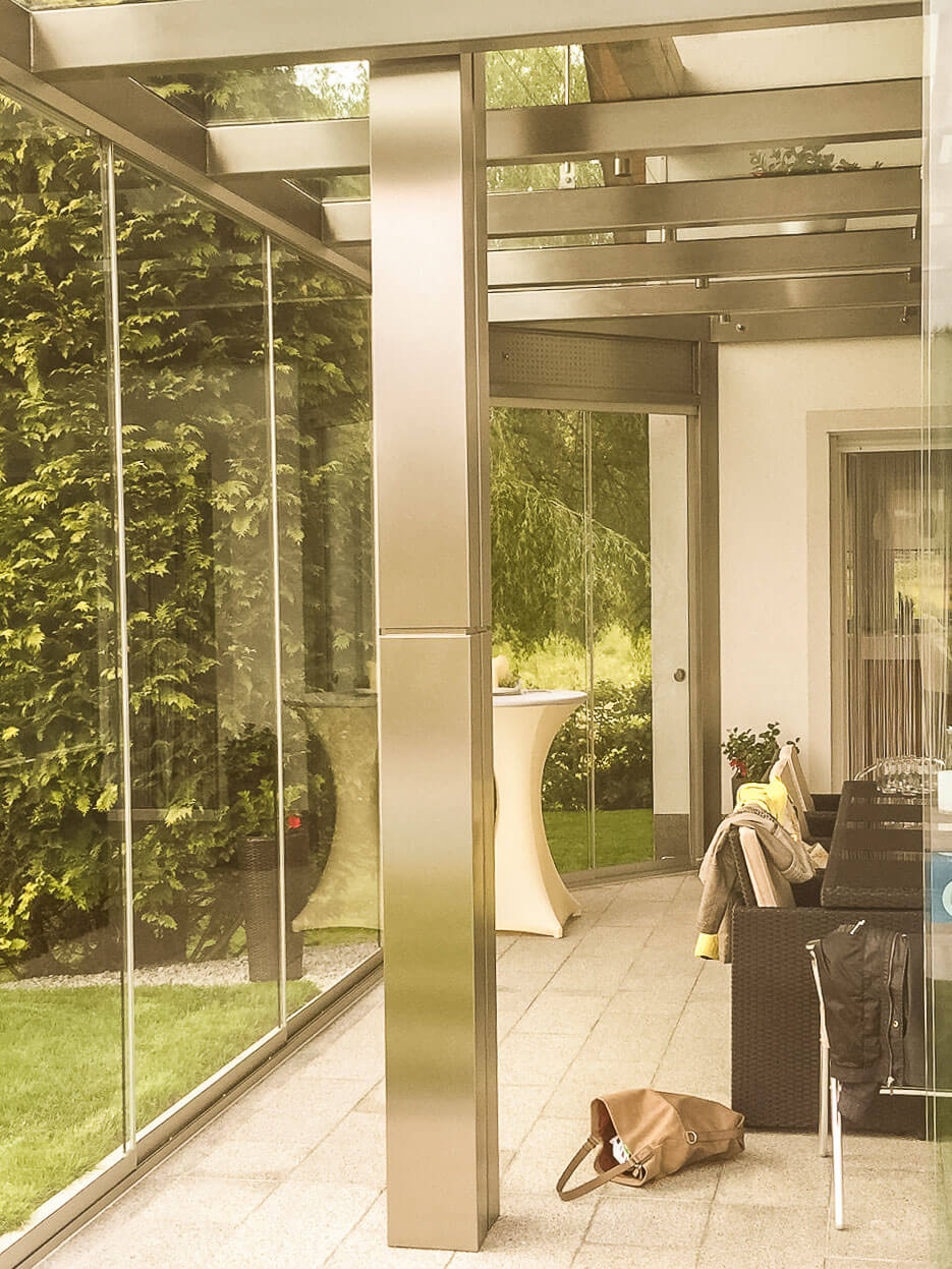 Terrassenglasdach Edelstahl