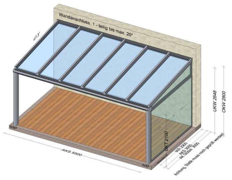 Terrassenüberdachung 1 Seite geschlossen mit Glasschiebetüren