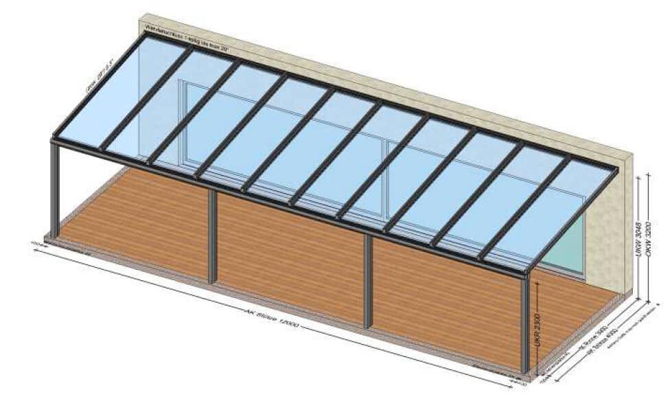 Terrassenüberdachung 10 Meter - Planung in 4050 Traun