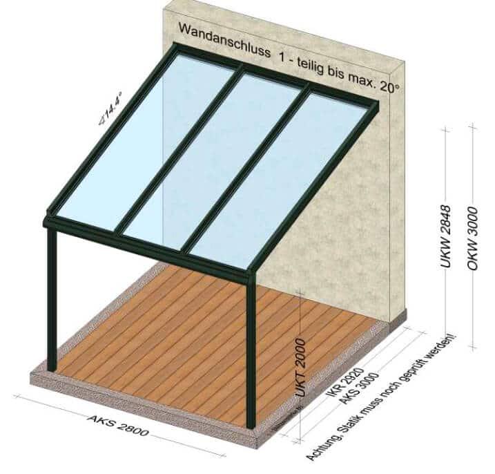 Terrassenüberdachung 2,8 x 3 Meter Planungsskizze