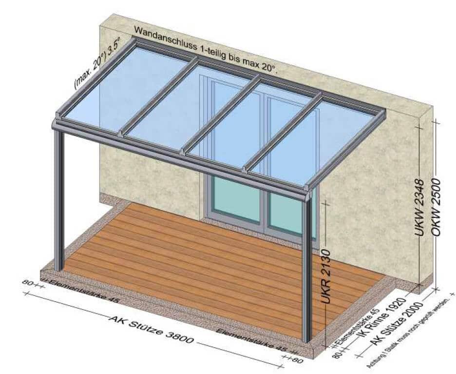 Terrassenüberdachung 380x200