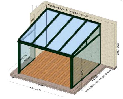 Terrassenüberdachung 397 x 358 cm
