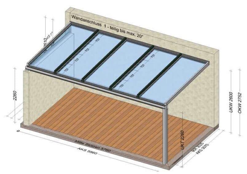 Planungsbeispiel Terrassenüberdachung 4-teilig in Aluminium mit Verbundsicherheitsglas / eine Seite offen / eine Seite mit Mauer - Maß: 5860 x 3100 mm