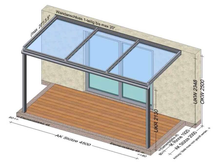 Terrassenüberdachung 4,5x2 Meter
