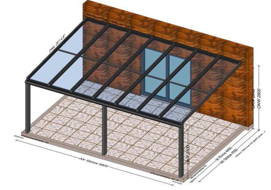 Terrassenüberdachung 6,8 x 4,5 - Planung