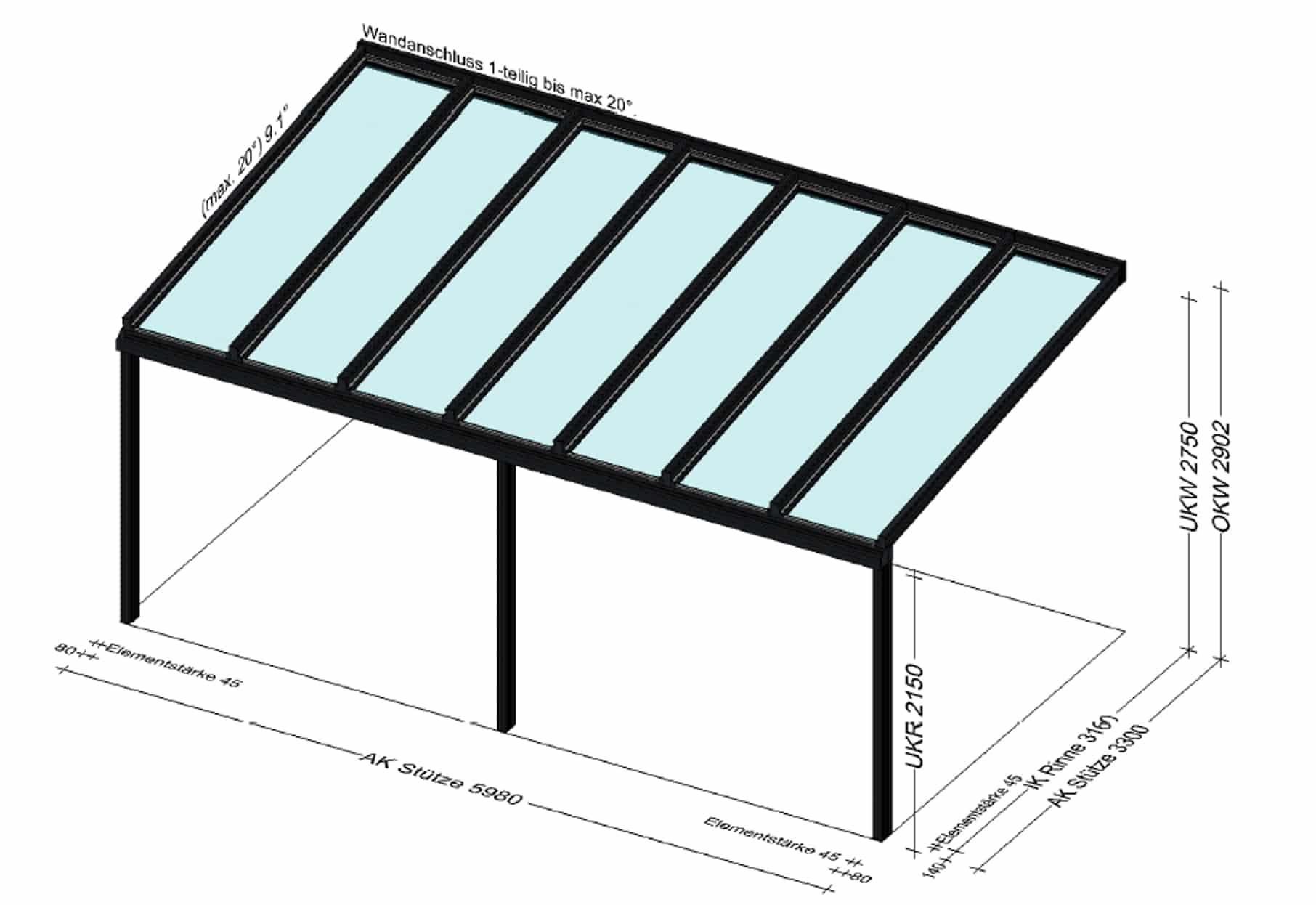 Terrassenüberdachung 6x3m