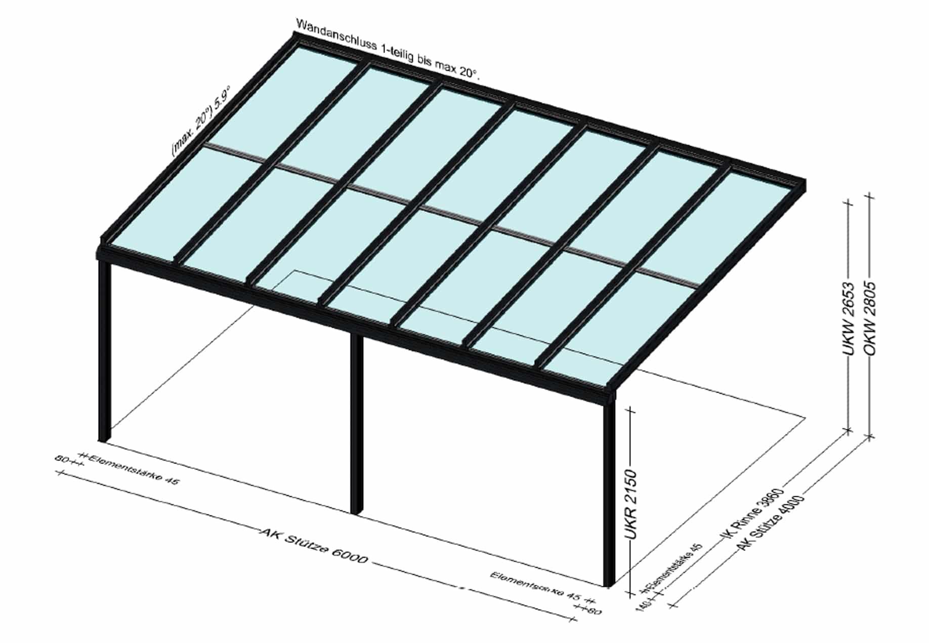 Terrassenüberdachung 6x4m