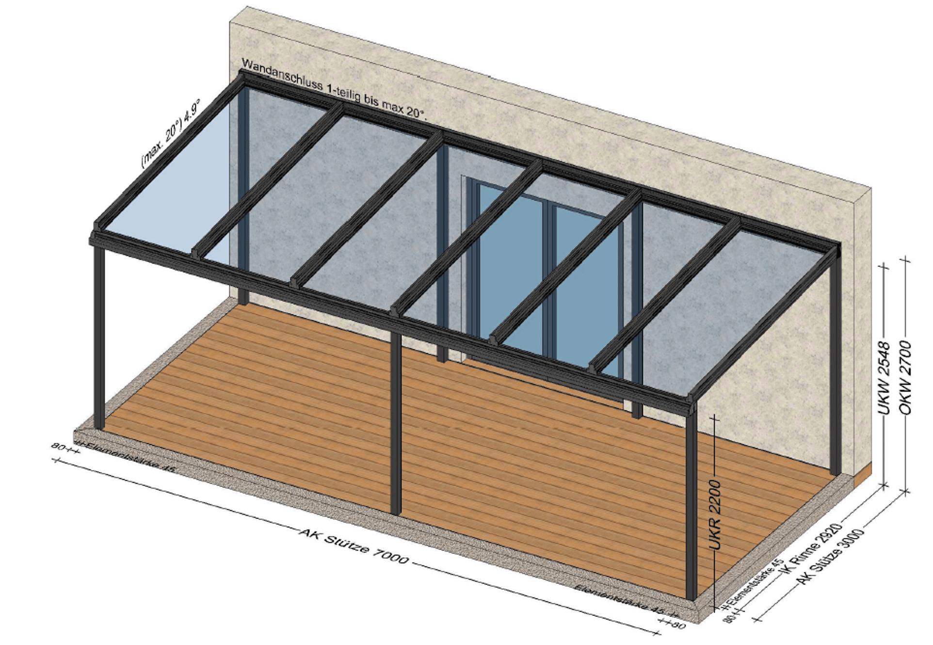 Terrassenüberdachung 7 x 3 m