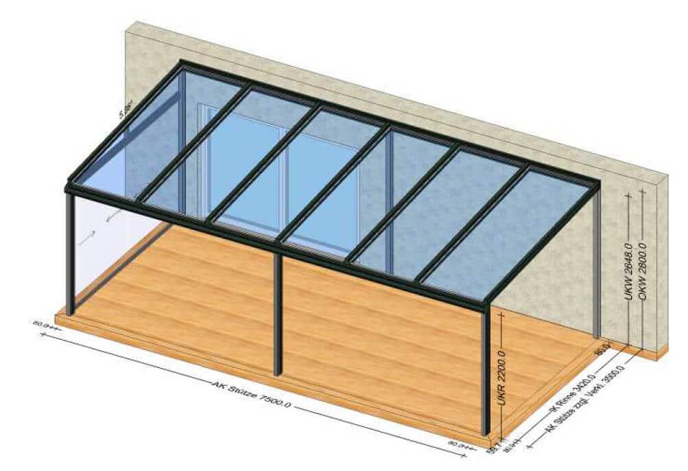 Terrassenüberdachung 7x5 Meter mit Seitenwand zu schieben