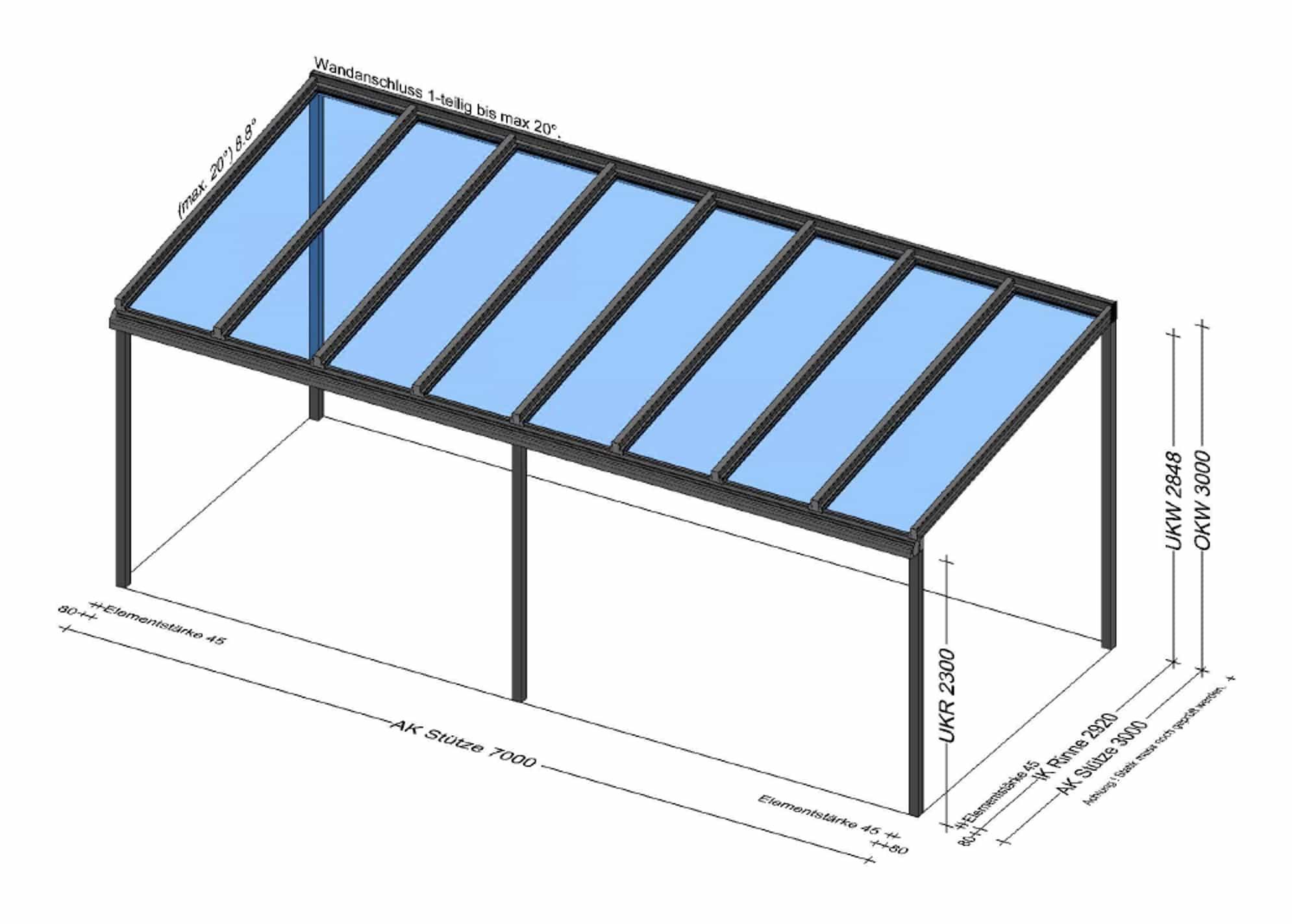 Terrassenüberdachung 7x3 in Hörsching