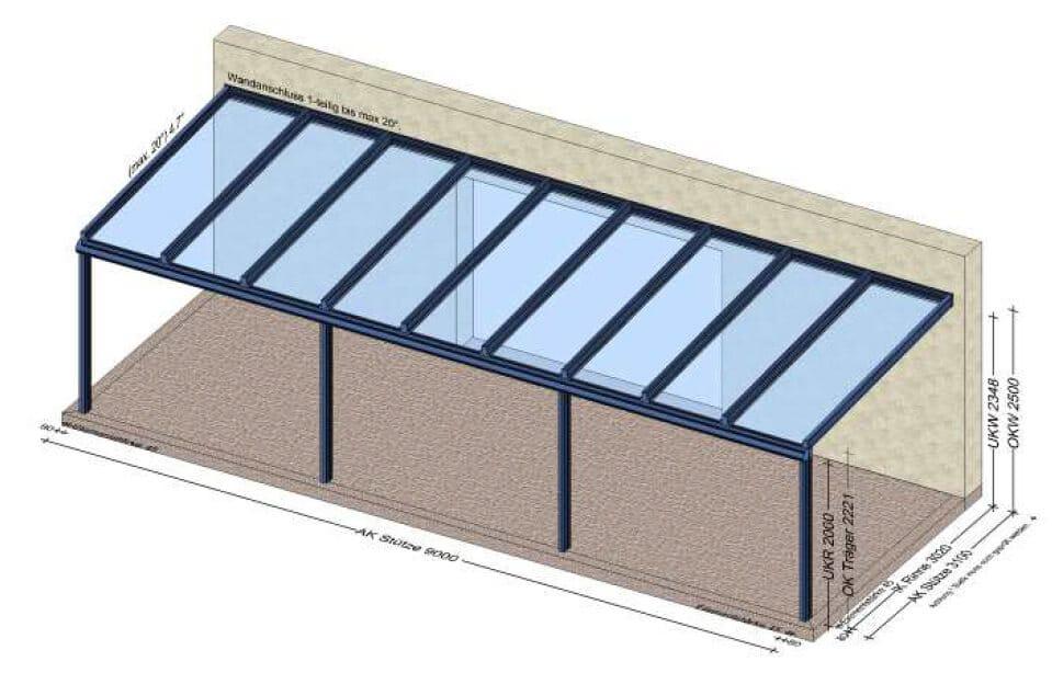 Terrassenüberdachung 9 Meter - Planung für Bad Goisern