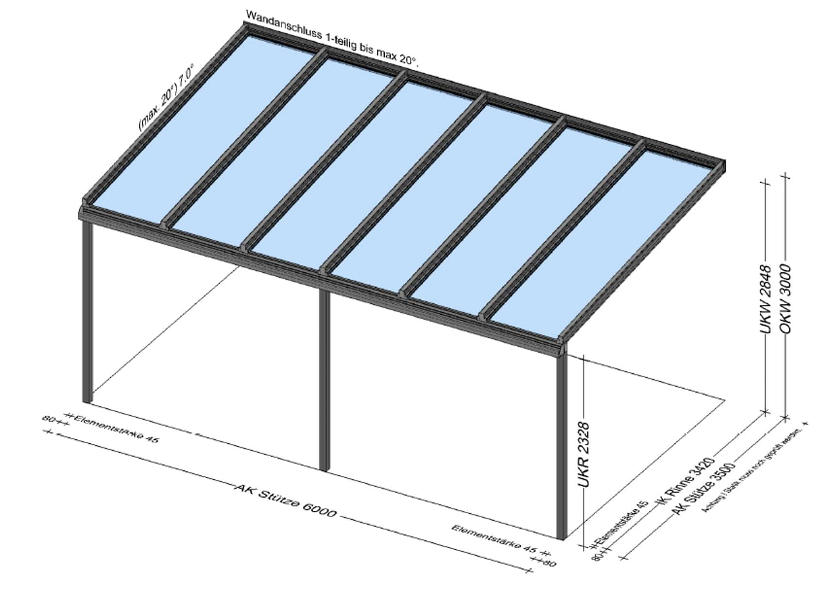 Terrassenüberdachung Alu 6 x 3,5 Meter