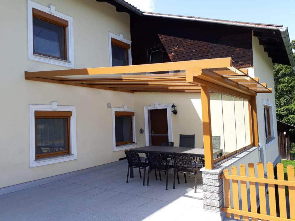 Terrassenüberdachung Alu Farbe braun