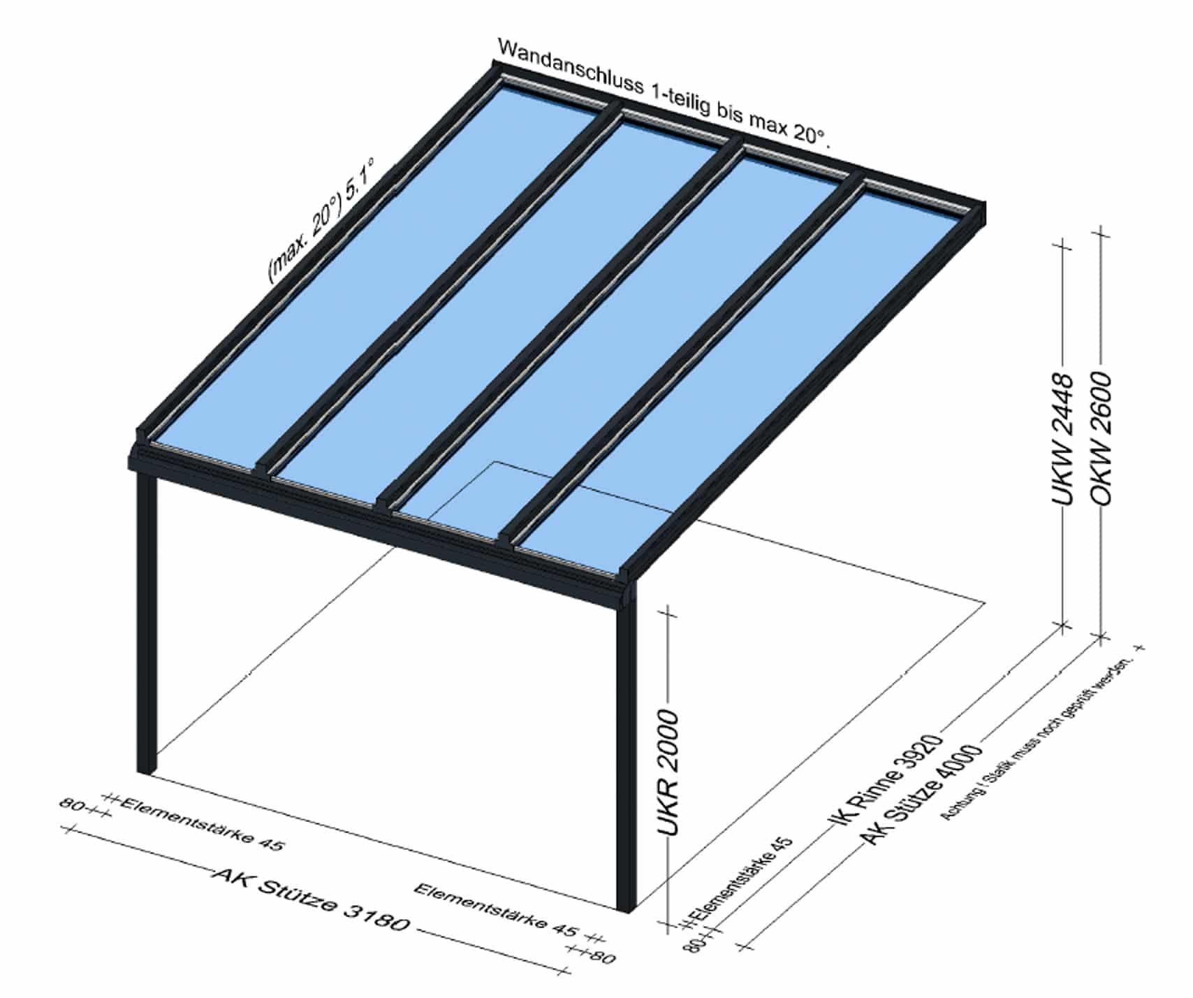 Terrassenüberdachung Alu Glas 4 Meter Tief